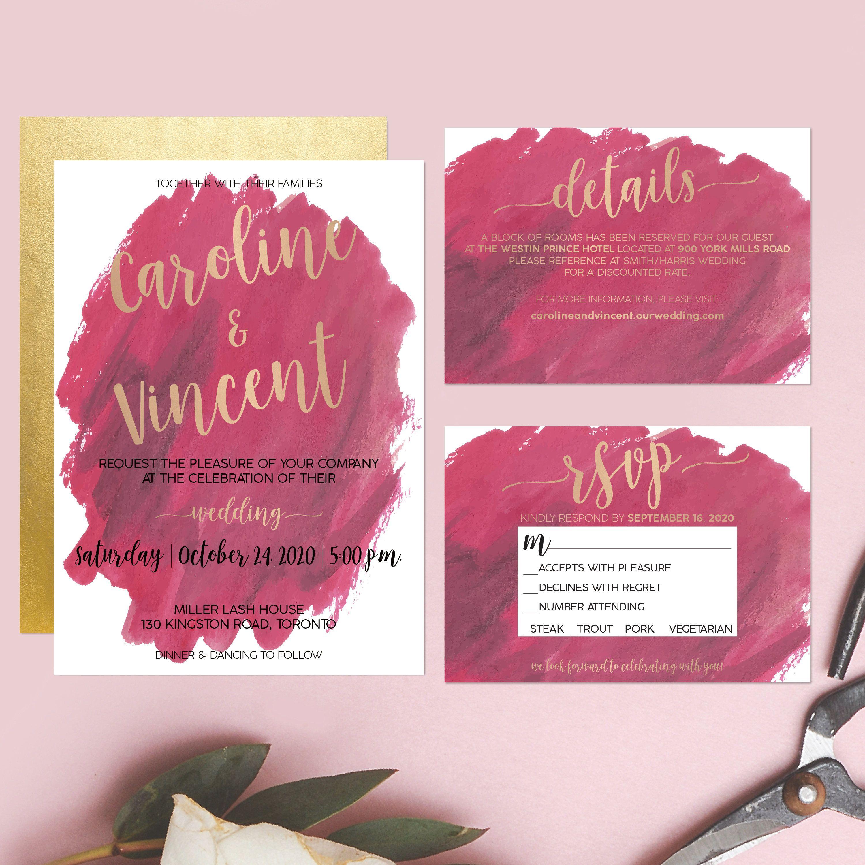 Printable Wedding Invitation Watercolor Floral Wedding - Elegant ...