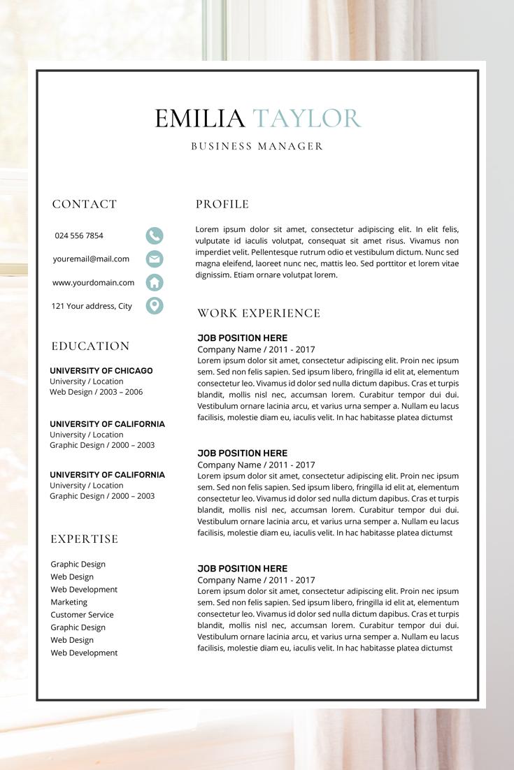 Resume Template Cv Template Resume Cv Design Creative Etsy Business Resume Business Resume Template Best Resume Template