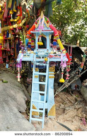 Buddhist Shrine Spirit House In Phuket Thailand Stock Photo