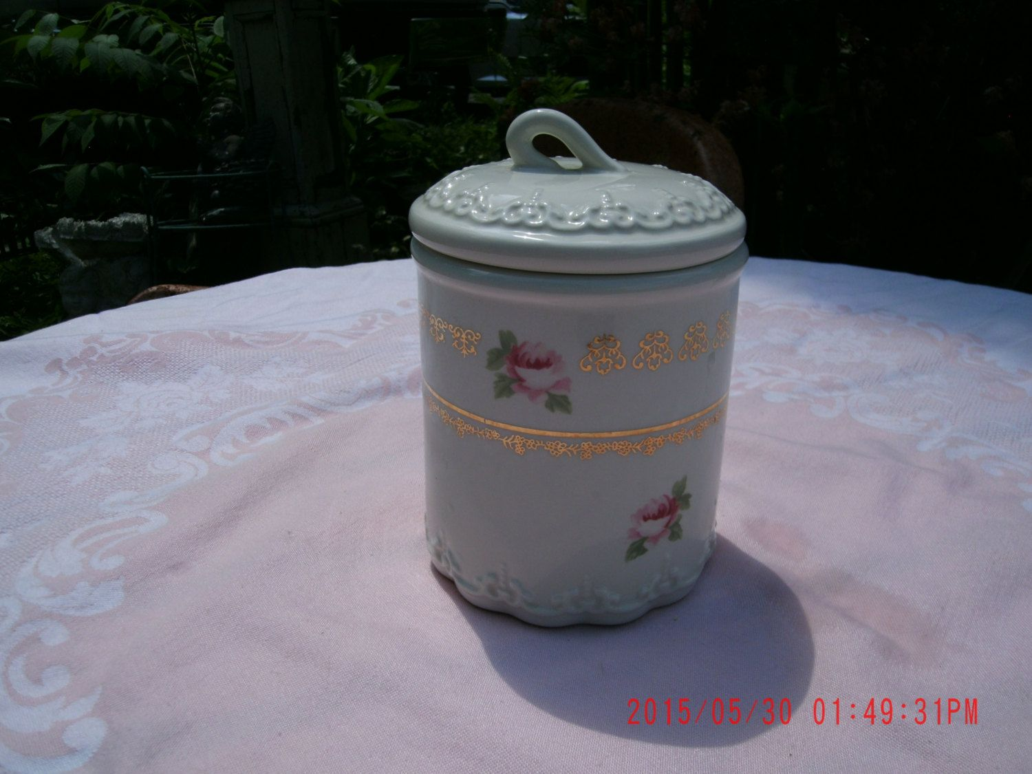 Vintage HTF Rachael Ashwell Simply Shabby Chic Jar with Lid and Pink Roses by thebedpost02 on Etsy