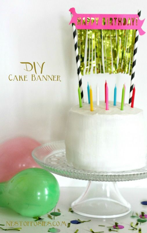 DIY Birthday Cake Banner With Gold Fringe Via Nest Of Posies Free Silhouette Download Cutting File