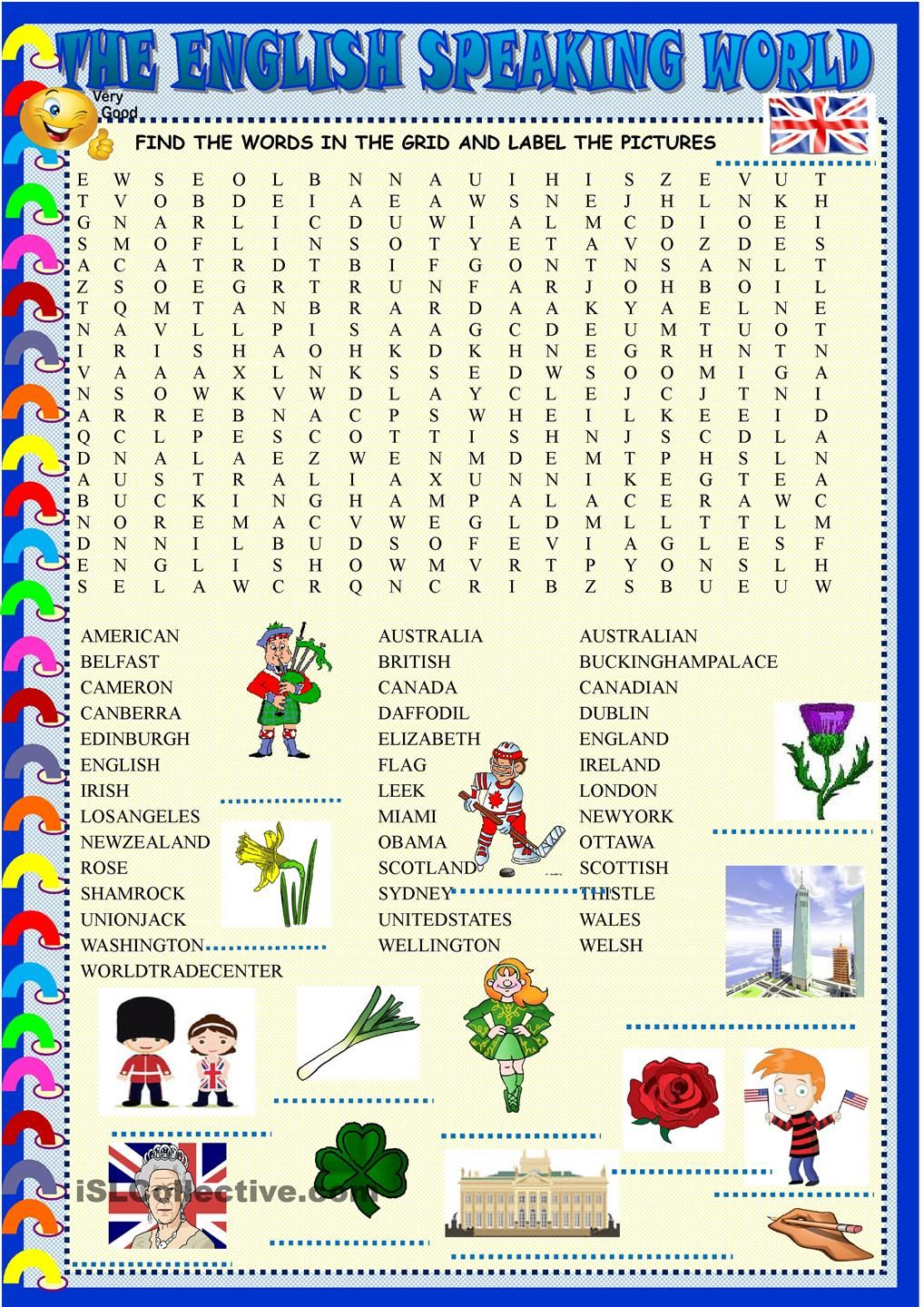 worksheet English Language Puzzles Worksheets the english speaking world wordsearch esl 2 pinterest worksheet free printable worksheets made by teachers