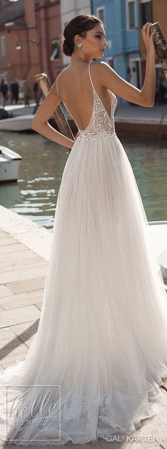 fe78b5b86a4c beautiful A line tulle boho wedding dress