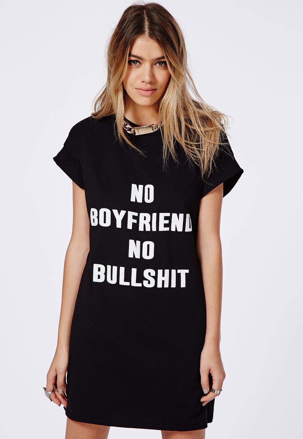 No Boyfriend Slogan T-Shirt Dress Black - Dresses - T-Shirt ...
