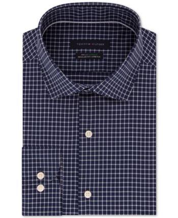 a67a0029 Tommy Hilfiger Men's Slim-Fit Th Flex Performance Stretch Non-Iron Navy Check  Dress Shirt - Blue 15 32/33