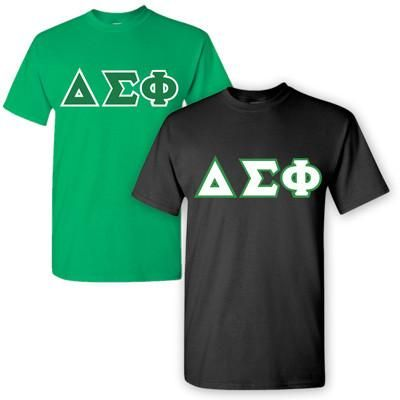 Get 2 T-shirts with 4-inch twill Delta Sigma Phi sewn-on letters on the front. T-Shirt Features: 5.3 oz., Gildan, preshrunk 100% cotton-unless otherwise noted on dropdown, Unisex/Men's Sized Ultraweight T-shirts. Rush service is available for 15% of the total price, this option is available during checkout. Click Here To View Size Chart Style #: G500