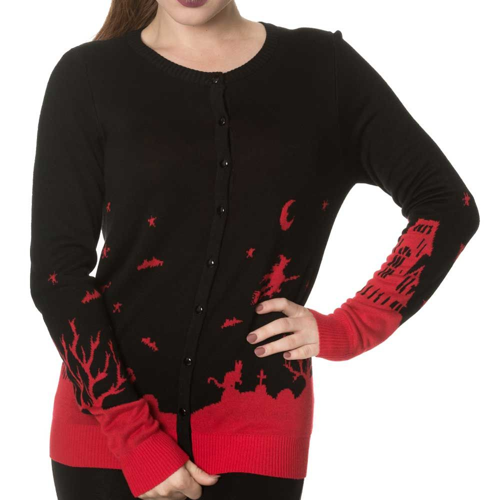 Banned Dark Skyline gebreide cardigan met Halloween print zwart/rood -