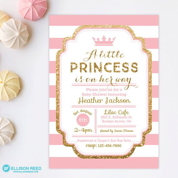 Charming Princess Baby Shower Invitation   Pink And Gold Baby Shower Invitation    Gold Glitter Invitation