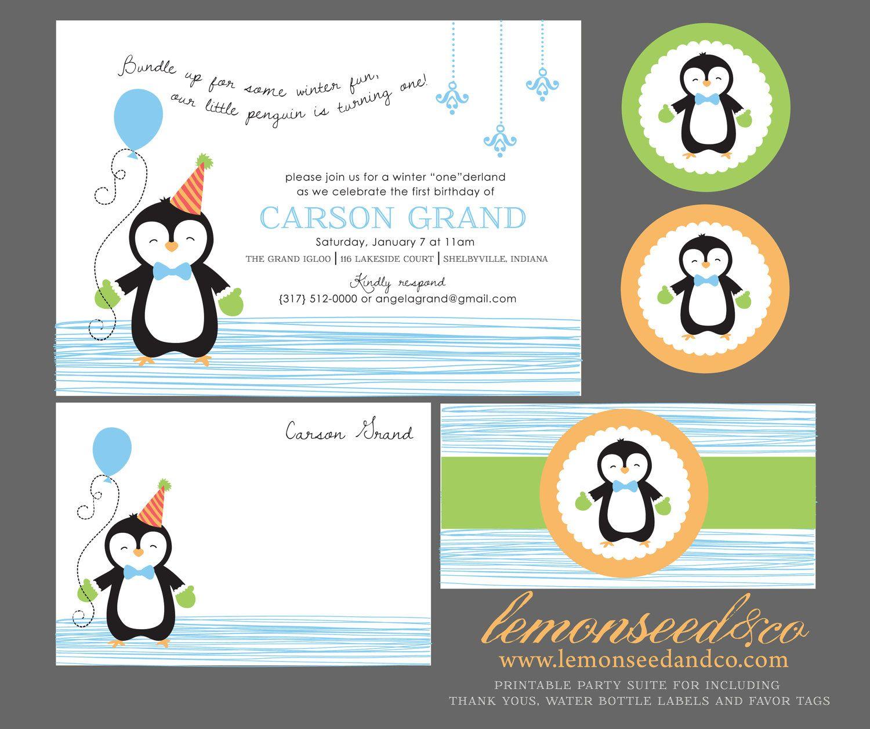 Printable DIY Birthday, Winter Wonderland, Winter Invitations ...