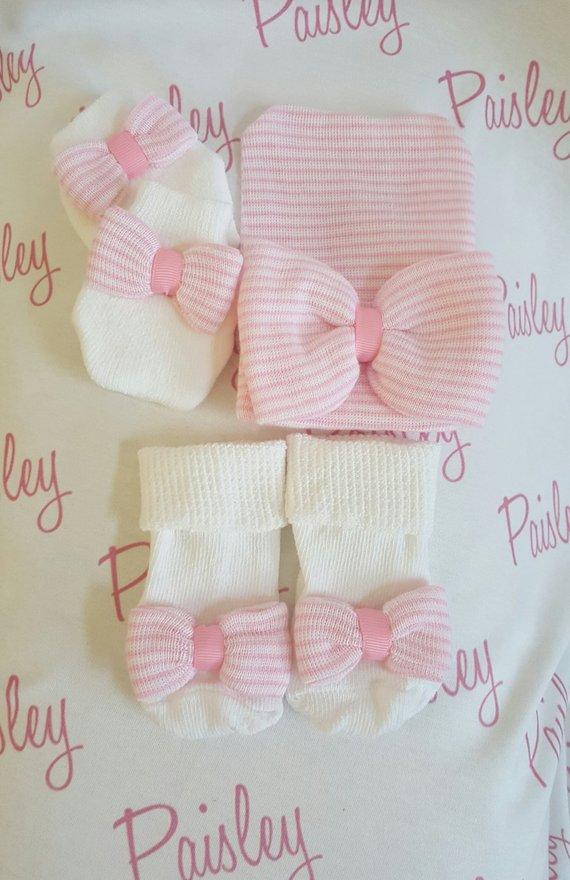 Newborn girl Hospital Gift Set. Newborn hat c3377a7f71d