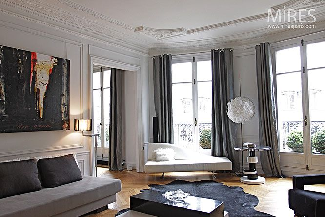 Salon haussmannien classical interiors pinterest for Salon contemporain blanc
