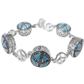 """Sima K 4.00cts Swiss Blue Topaz Peace Sign bracelet in size 7.5"""" with 1"""" extension by www.simakboutique.com"""
