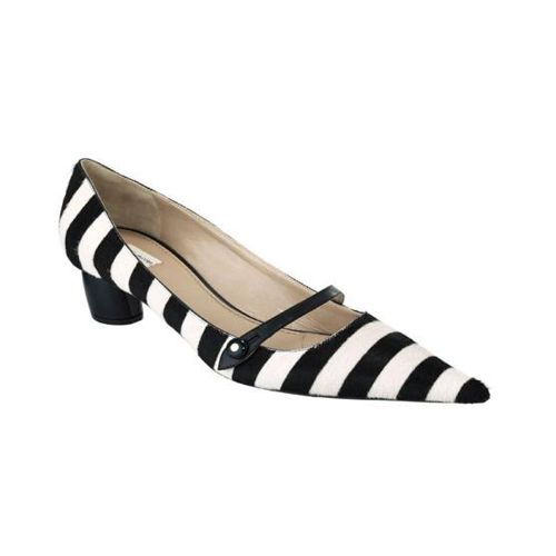 Black And White Kitten Heel Shoes