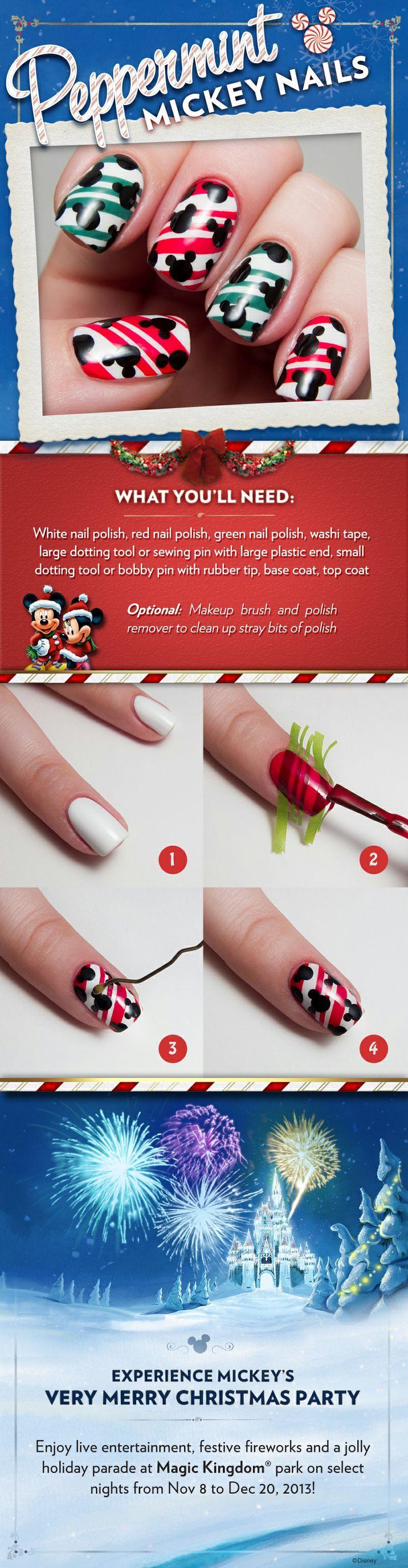 Peppermint Mickey nail art | Disney Christmas | Pinterest ...