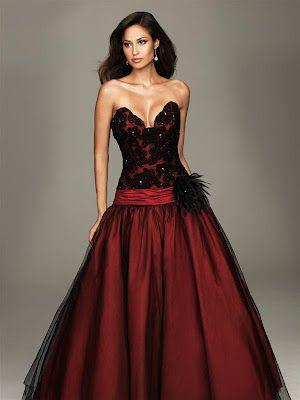 vestido de fiesta de 15 años color rojo y negro : vestidos para tu