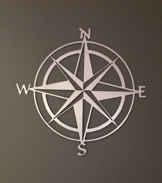 Nautical Compass Rose Metal Wall Art 30""