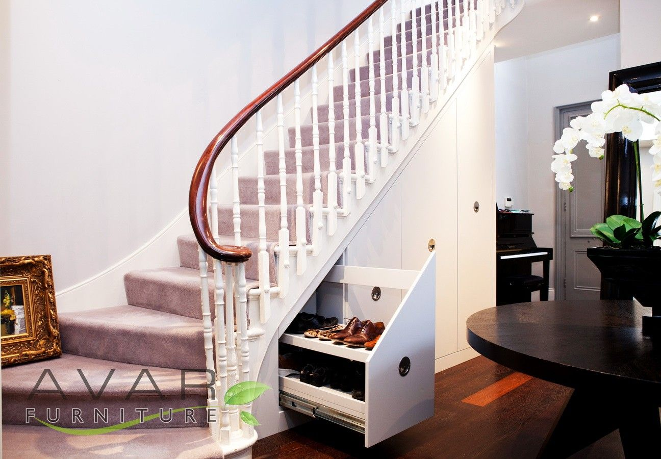 Furniture cool shoe cabinet under stair in nice living for Storage solutions living room