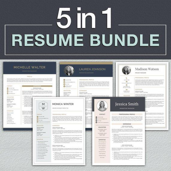 689945ac0 Resume Template Bundle   Professional Resume Template for Word + Cover  Letter
