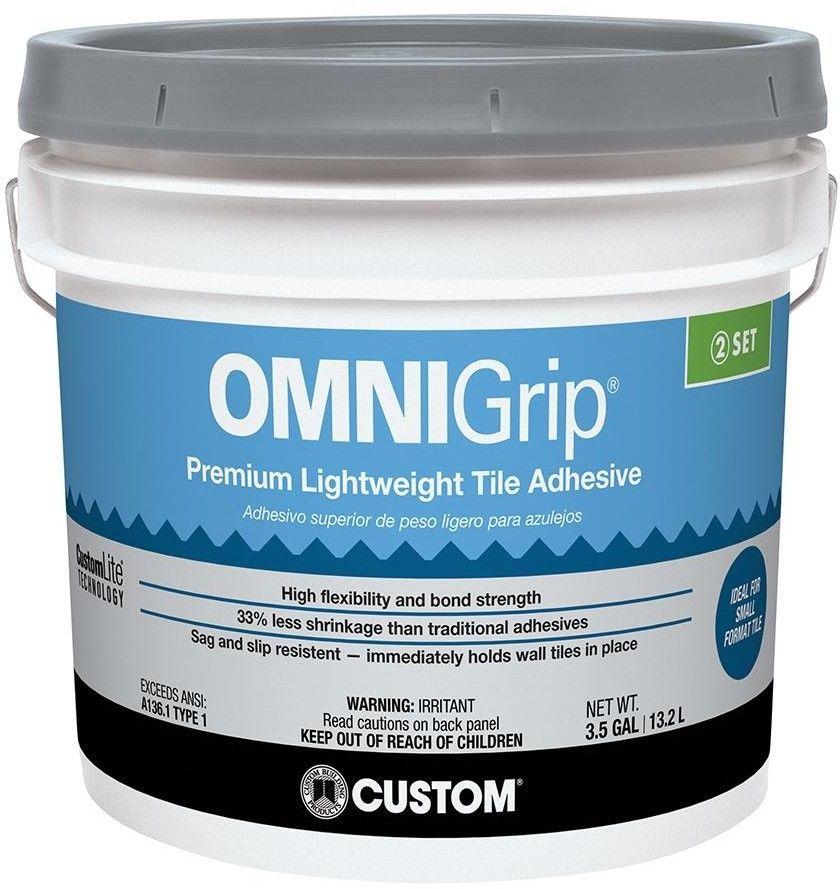 Omnigrip 3 1 2 Gal Maximum Strength Premium Lightweight Indoor Tile Adhesive Custombuildingproducts Adhesive Tiles Adhesive Tile Installation