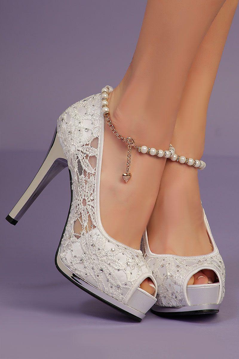 f3c8ae556001cf Escarpins Blancs dentelle - INFINIE PASSION | chaussure | Escarpin ...