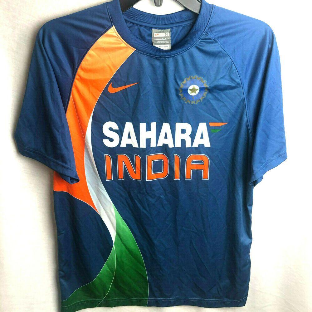 Nike Sahara India Cricket National Team Jersey Medium Shirt Blue Orange Nike India Under Armour Outfits Shirts Blue Clothes