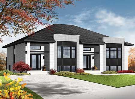 Plan 22329DR: Contemporary Semi Detached Multi Family House Plan