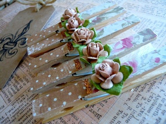 Shabby Chic Designer Pegs  Pink & Brown  Set by JacquelynVaccaro, $6.25