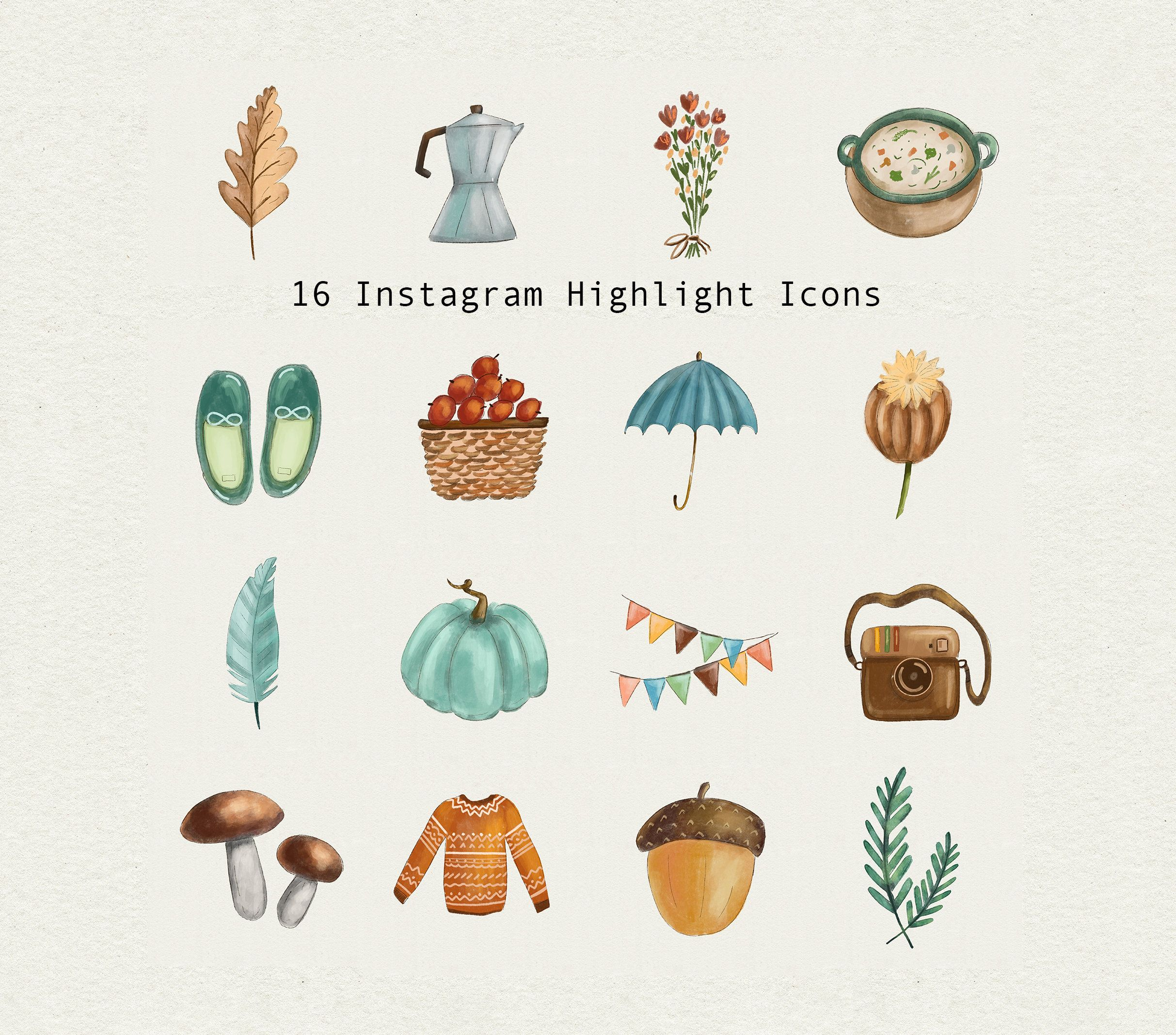 Autumn tea Instagram icons boho style Highlight story watercolor boho style cozy nature cute herbs Flowers cakes
