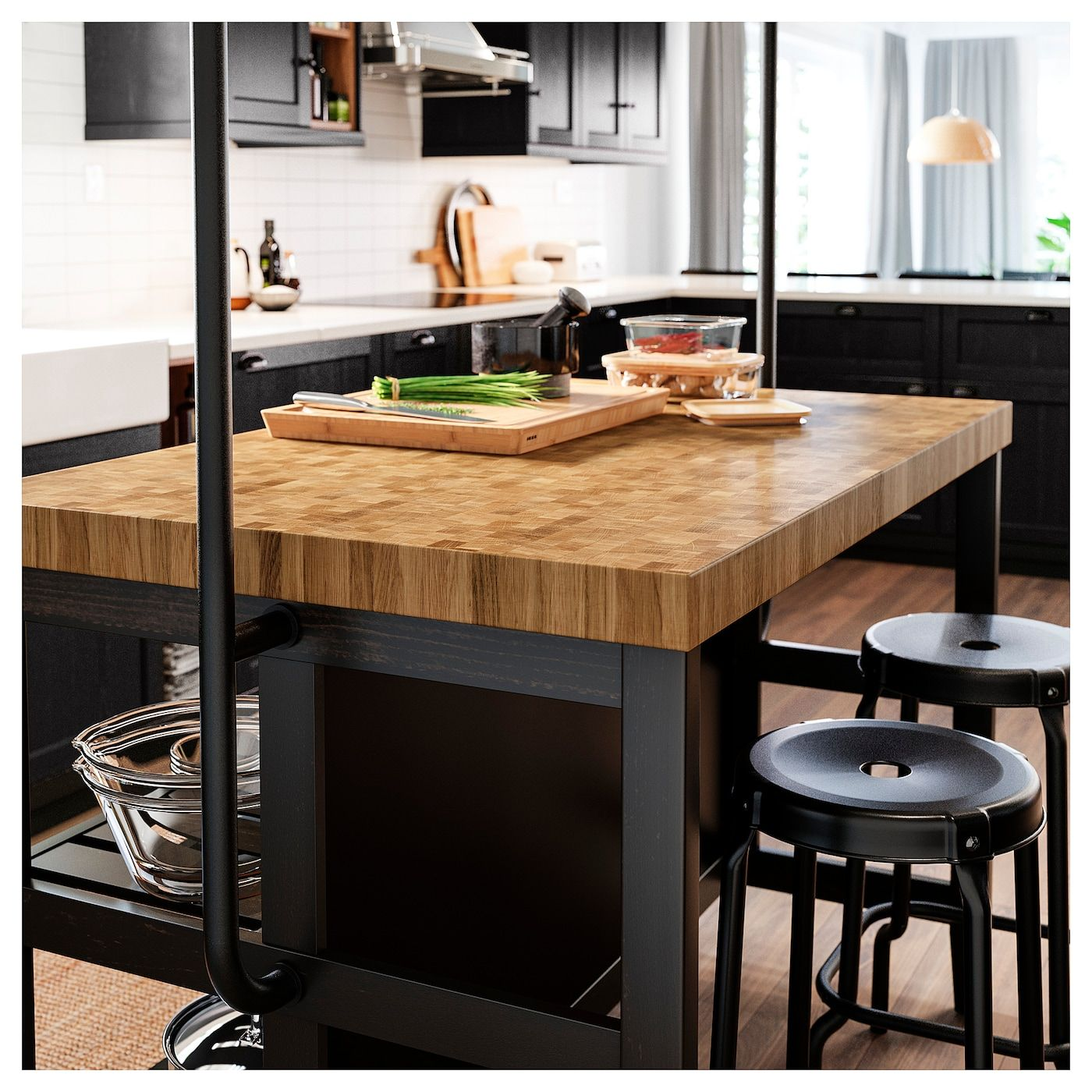Ambienti Ikea Cucina vadholma kitchen island with rack - black, oak 49 5/8x31 1