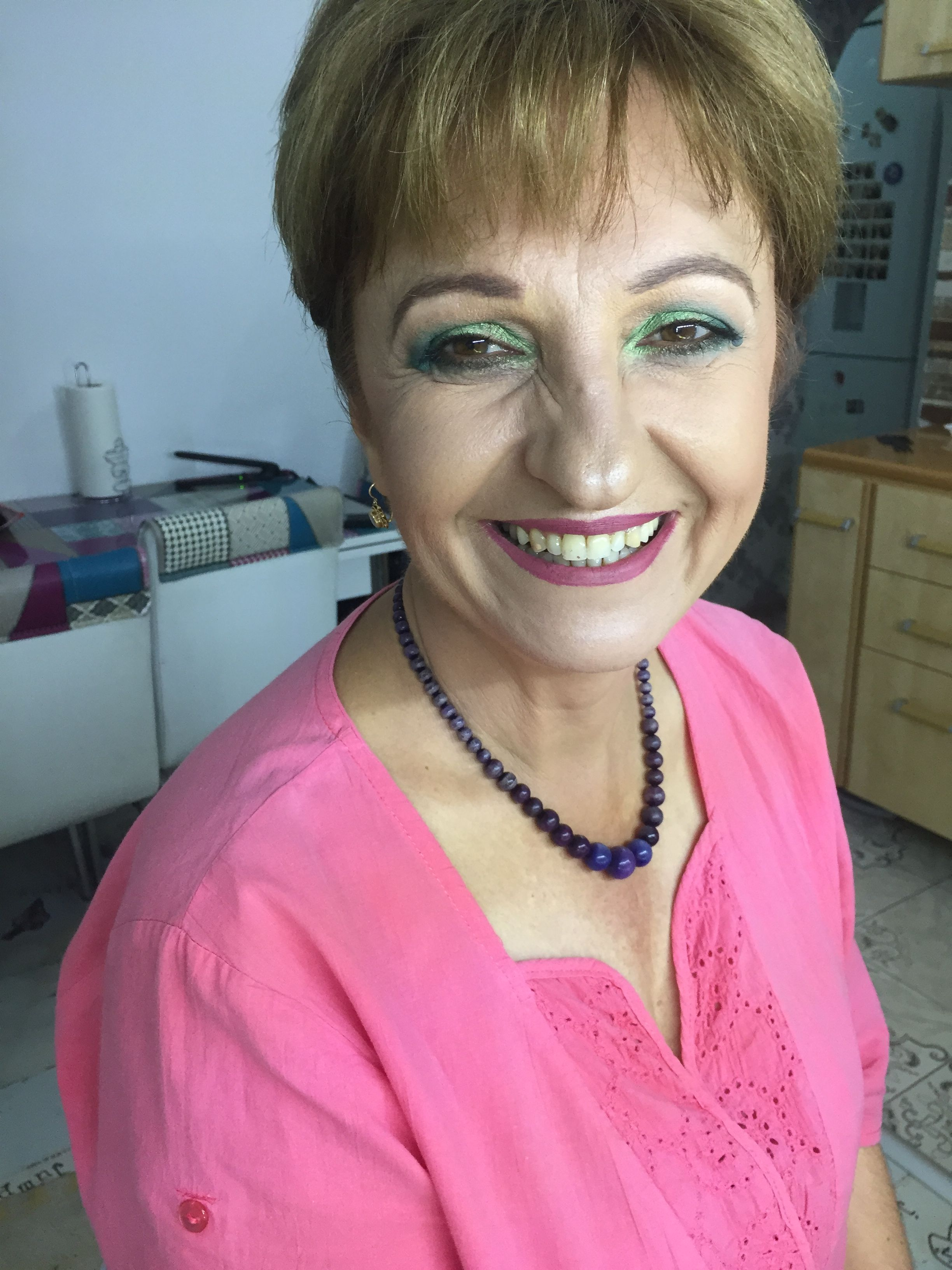 Beautiful Smile , green makeup