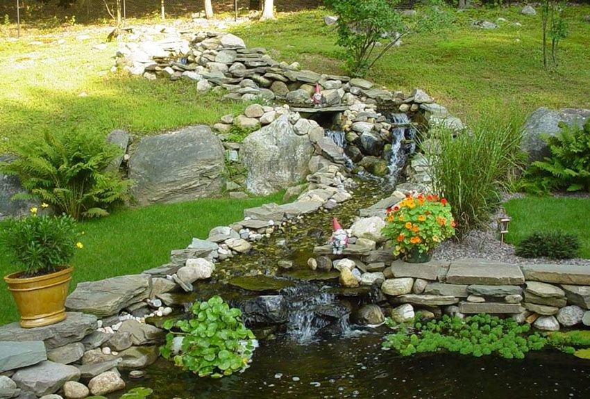 Garden With Stone Stream And Small Waterfalls Rustic 400 x 300