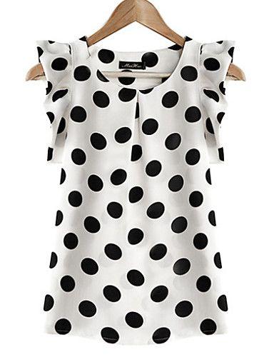 ec03f2b8e9 Feminino Blusa Casual   Tamanhos Grandes Simples Verão
