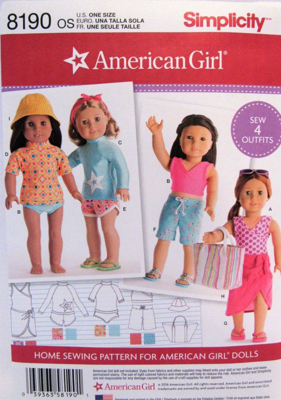 American Girl Doll Clothing Pattern Simplicity 8190 New Uncut Free ...