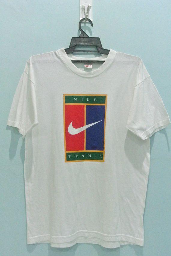 a8870e44 Vintage 90s NIKE Tennis White T Shirt Logo Size Mens Medium BM ...
