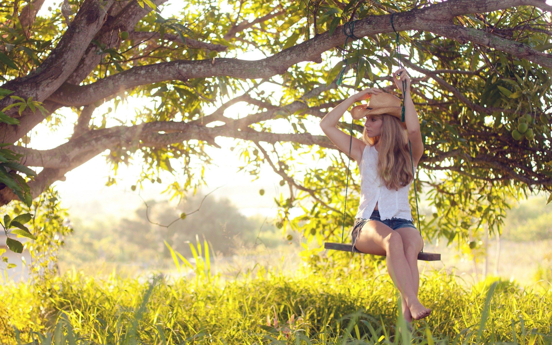 Tree Grass Girl Swing Country Girls Girl Swinging Photo