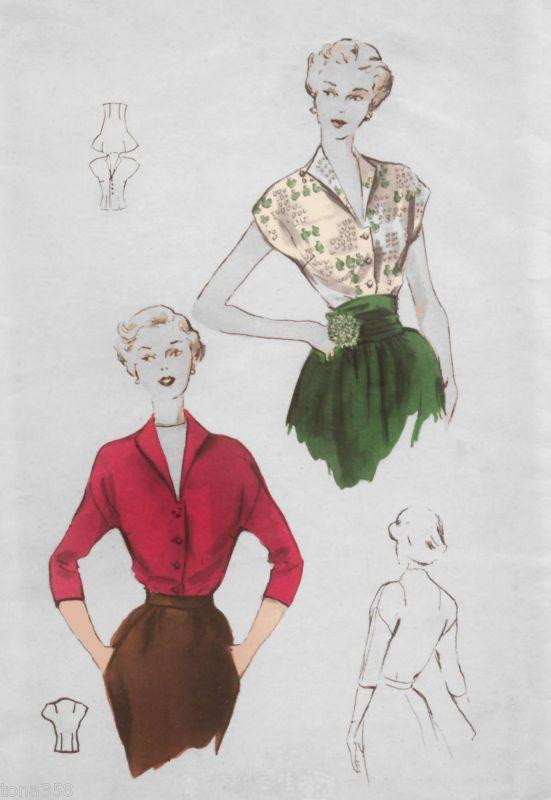 Vtg 40s Drop Shoulder Kimono Blouse Butterick 4993. | 50s ...