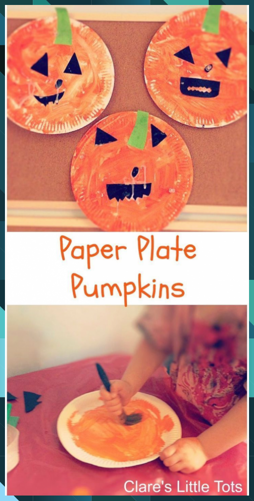 Paper plate pumpkins easy Halloween craft idea for toddlers and preschoolers. #a... #cool crafts #Craft #cute crafts #Easy #Halloween #halloween crafts #holiday crafts #idea #Paper #Plate #preschoolers #pumpkins #recycled crafts #toddlers