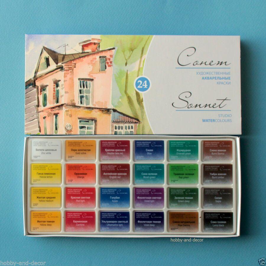 Details About Sonnet 24 Colors Artists Watercolours Paint Set