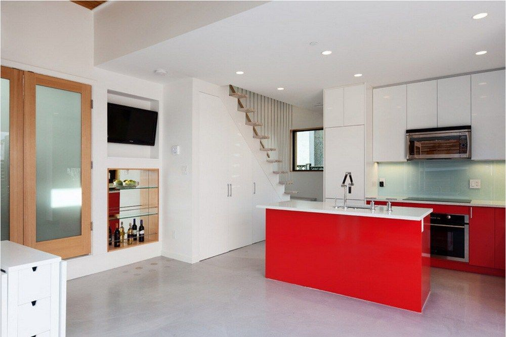 high gloss lacquer kitchen cabinets red color modern painted kitchen