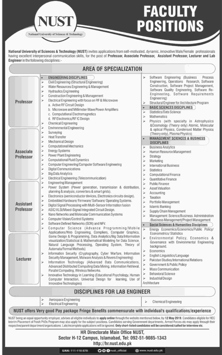 National University Of Science Technology Nust Jobs April 2019 University Of Sciences Technology Job Science And Technology