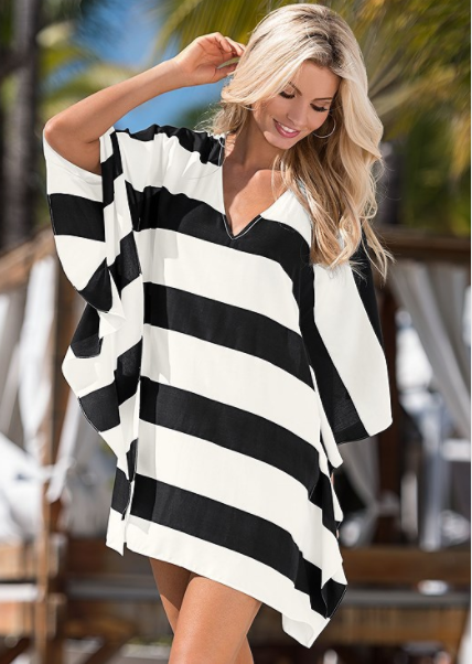 6f9350afbba632 Bold summer statements start with stripes and a V-neck at front and back.