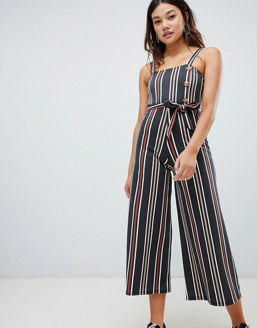 75b58ad690bd75 Wednesday s Girl belted jumpsuit with faux horn buttons in vintage stripe  in 2018