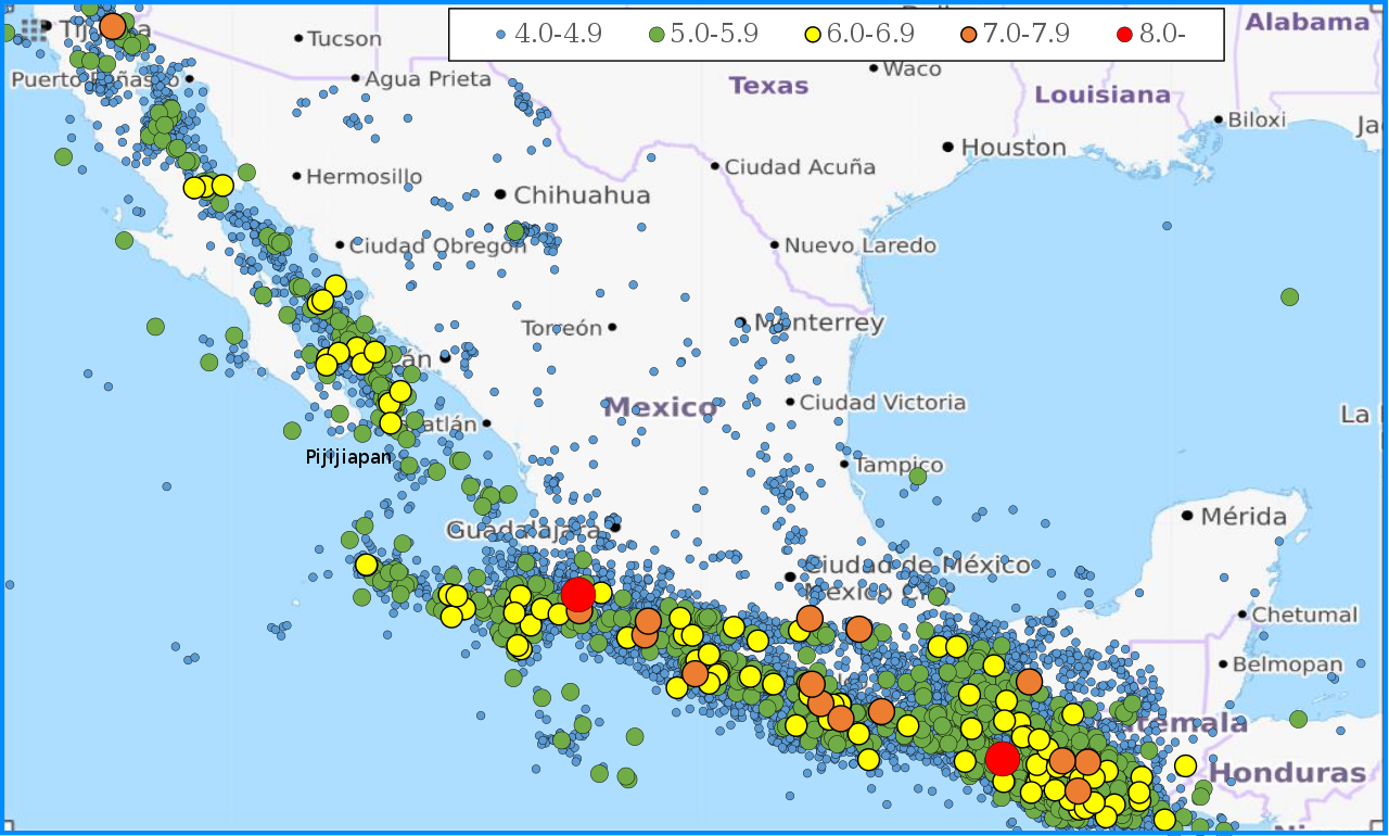 Map of earthquakes in Mexico from 1990 to 2017 A total of 22 370