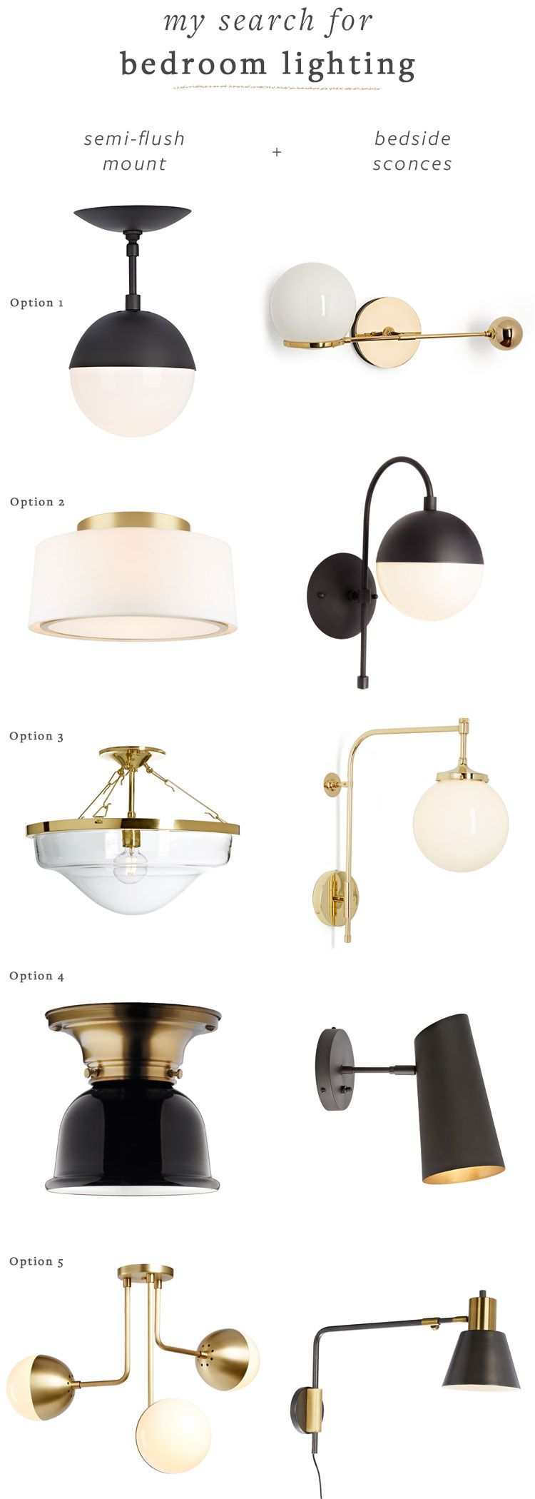 Matte Black And Brass Bedroom Lighting Fixtures Round Up Flush Mount Semi Flush Mount And B Bedroom Light Fixtures Black Light Fixture Bedroom Ceiling Light