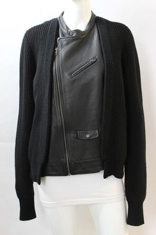 A.L.C. 'Harmony' Black Wool Knit Leather Front Sweater | juneresale.com