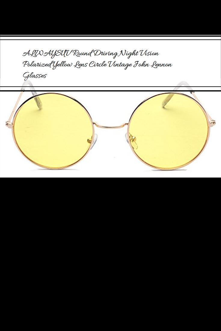 d05ecb55a ALWAYSUV Round Driving Night Vision Polarized Yellow Lens Circle Vintage  John Lennon Glasses