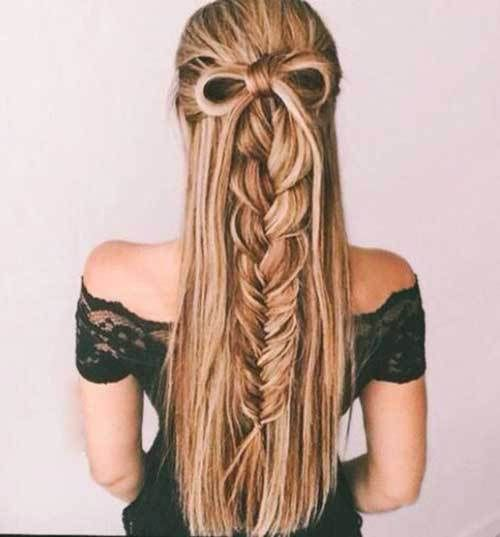 Simple Elegant Pulled fishtail Braid with bowFish tail braids are another type of braids which will trnsform your hair dye your hair with golden blonde high lights Top Design - Beautiful herringbone braid Style