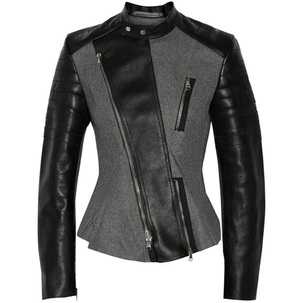 d204aa3ace2 Sexy Leather Biker Black Jacket