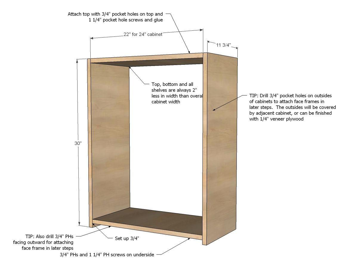 Ana White  Build a Wall Kitchen Cabinet Basic Carcass