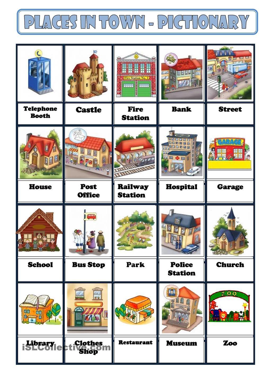 PLACES IN TOWN | English grammar | Ciudad en ingles ...
